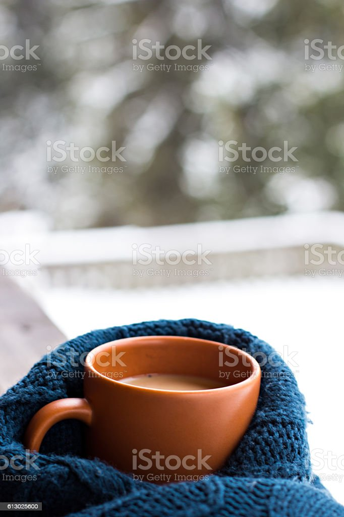 Cup with a hot drink stock photo