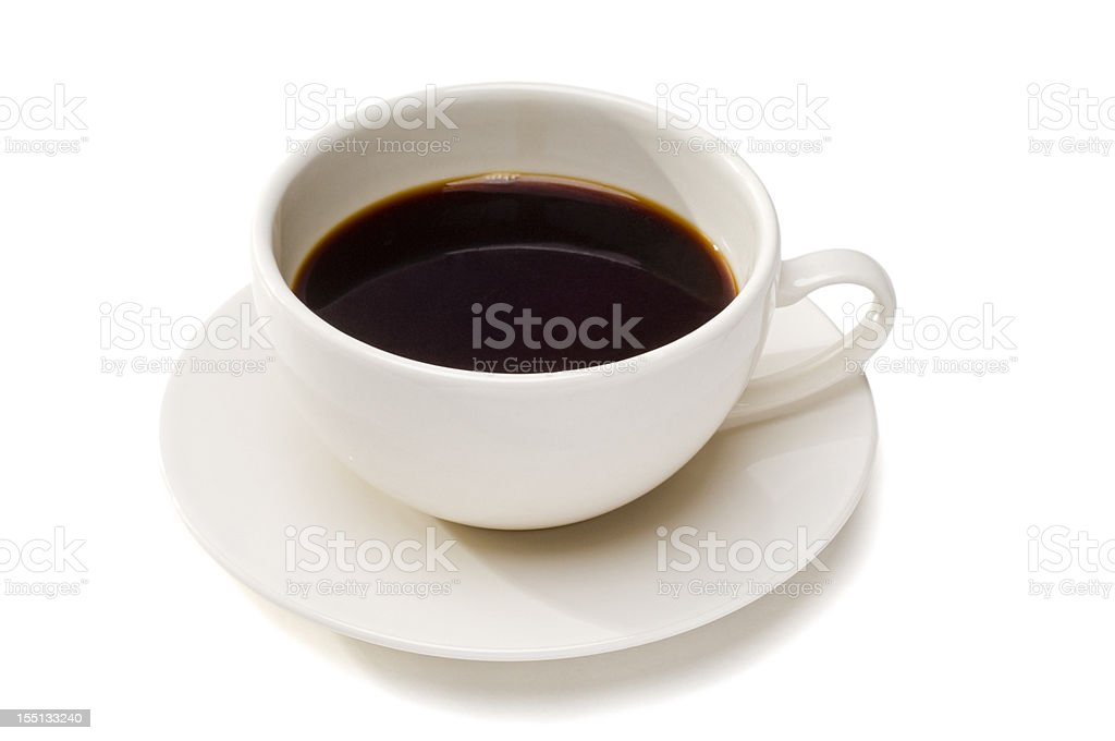 Cup with black coffee on white royalty-free stock photo