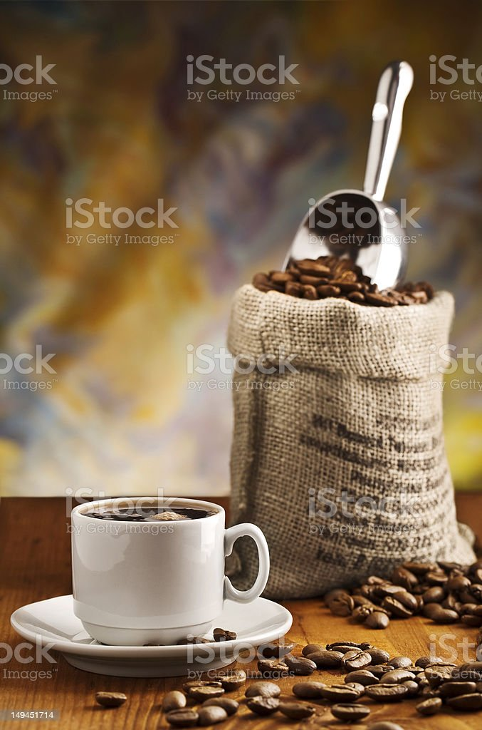 cup with coffee and sack royalty-free stock photo