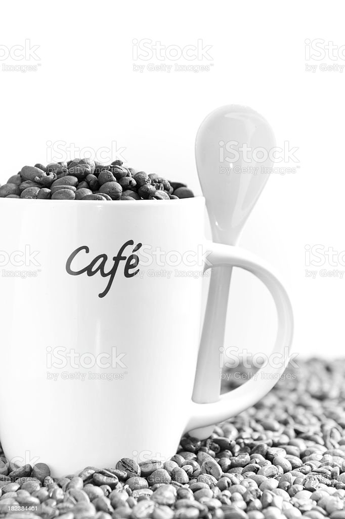 Cup With Coffee Beans in Black and White royalty-free stock photo