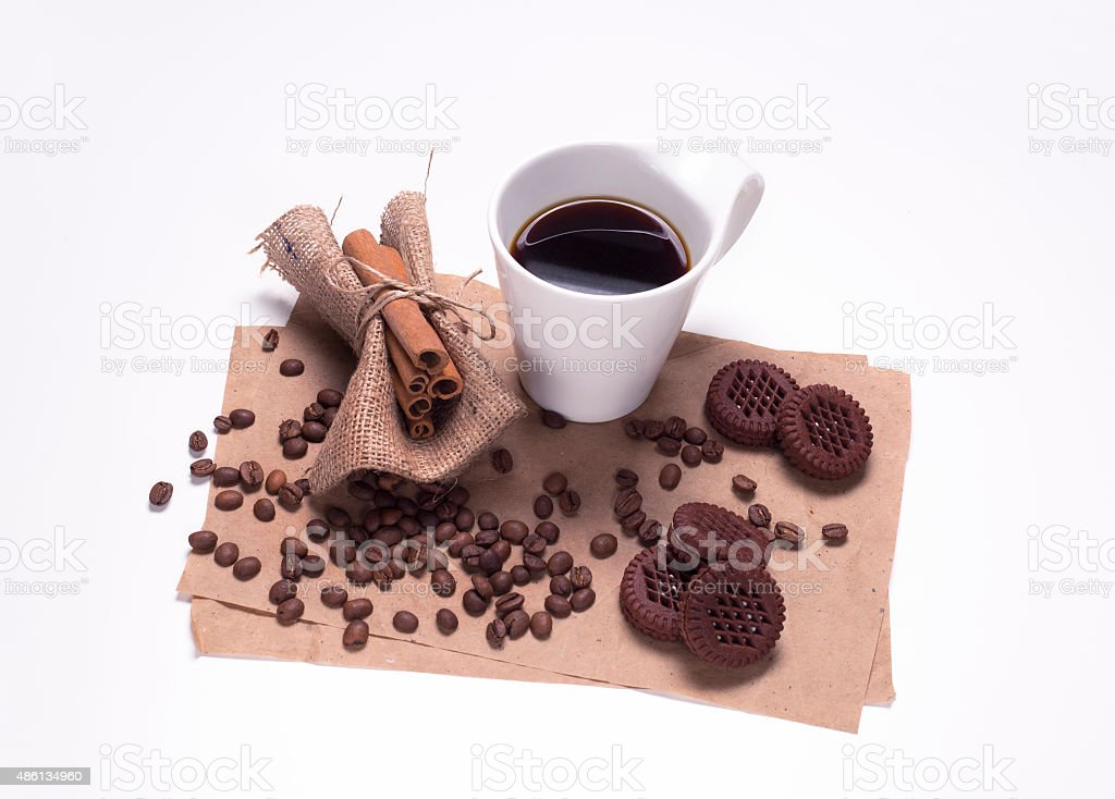 Cup with Coffee beans isolated on the white background, stock photo