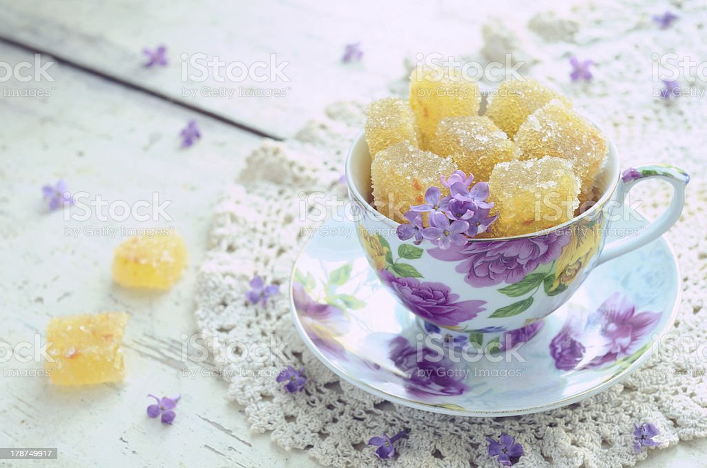 Cup with homemade oramge jelly bars royalty-free stock photo