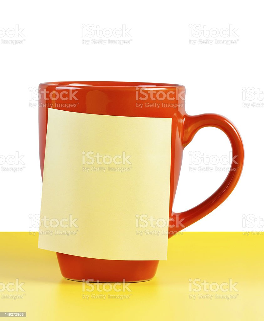 Cup with note paper royalty-free stock photo