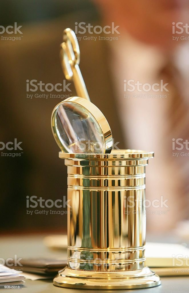 Cup with office accessories. stock photo