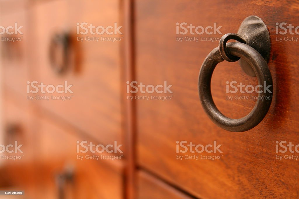 Cupboard handle detail stock photo