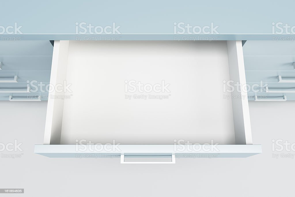 cupboard with opened drawer vector art illustration