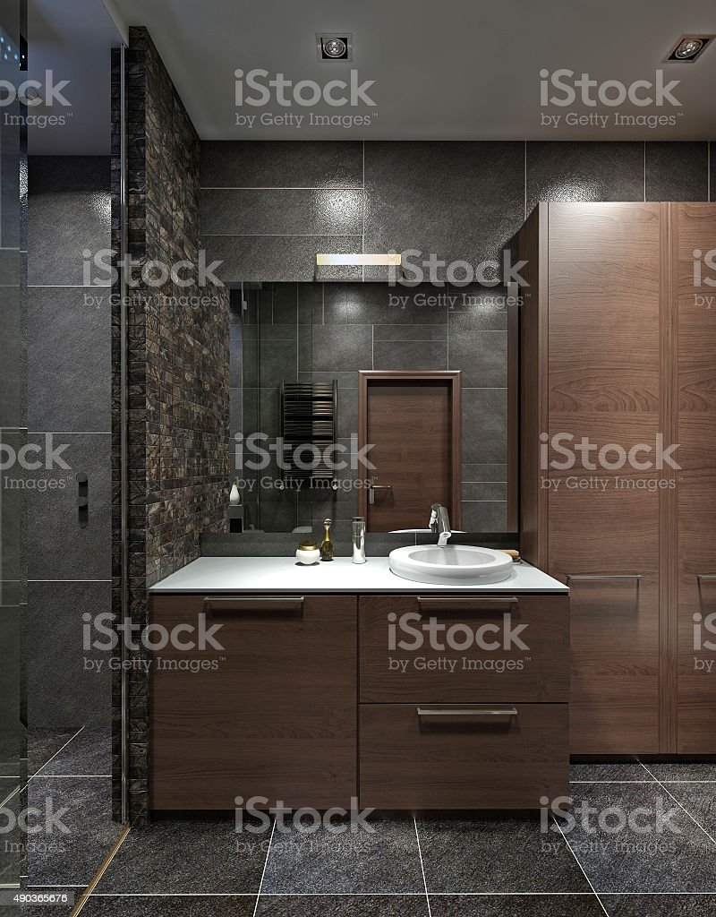 Cupboard with wash basin in bathroom in style Contemporary stock photo