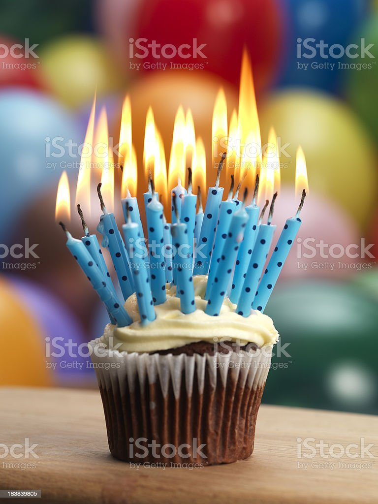 Cupcake and candles royalty-free stock photo