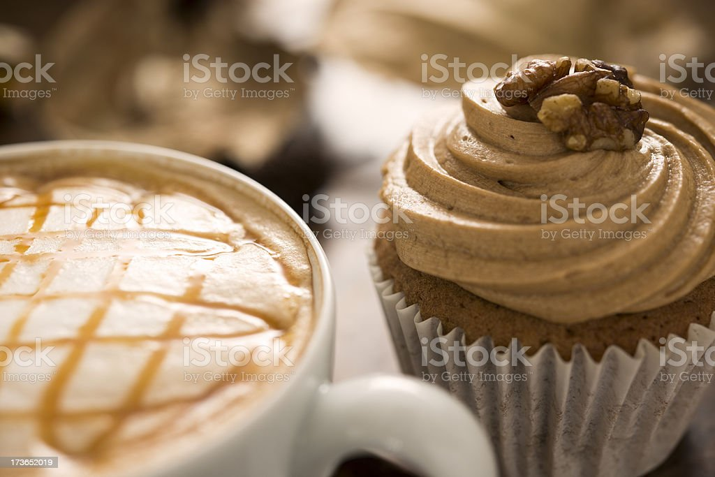 Cupcake and coffee stock photo