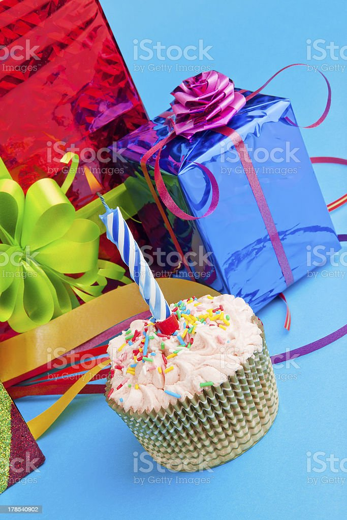 cupcake and gift boxes royalty-free stock photo