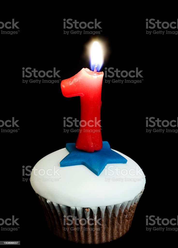 cupcake and number one candle royalty-free stock photo