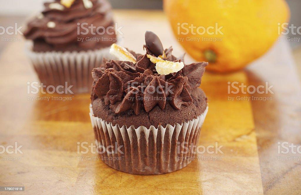 Cupcake chocolate and orange royalty-free stock photo