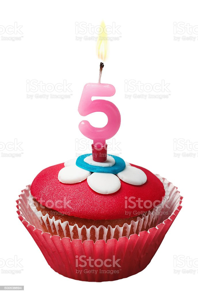 Cupcake for birthday with the number five stock photo