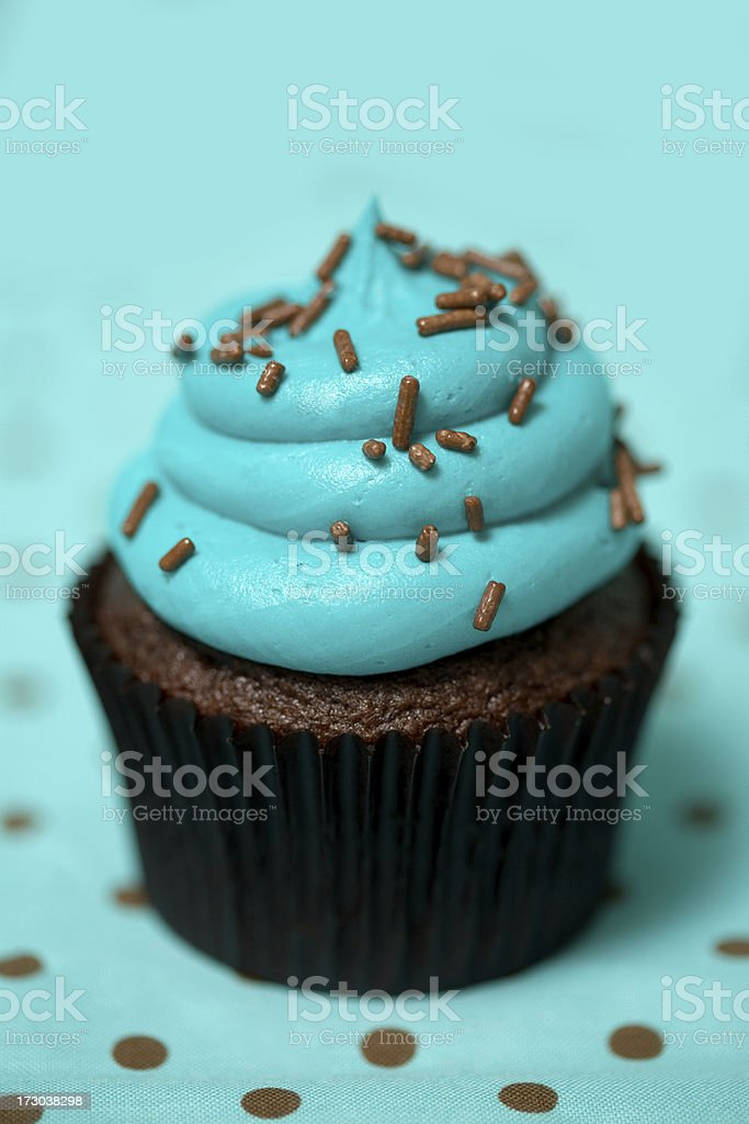 Cupcake in blue royalty-free stock photo