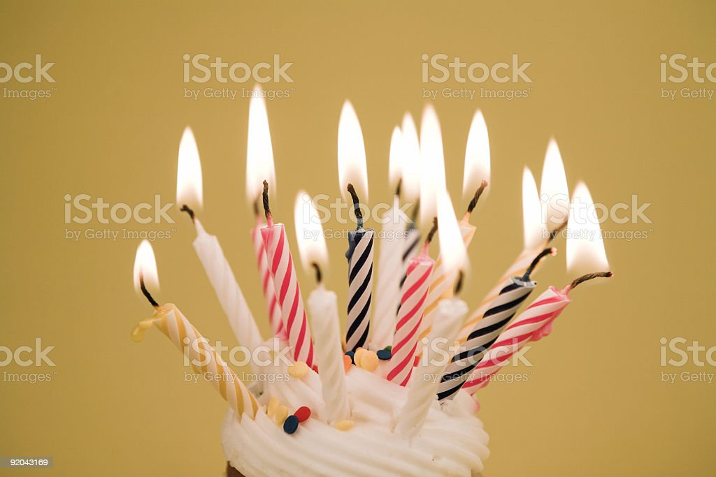 Cupcake - Lots of Candles royalty-free stock photo