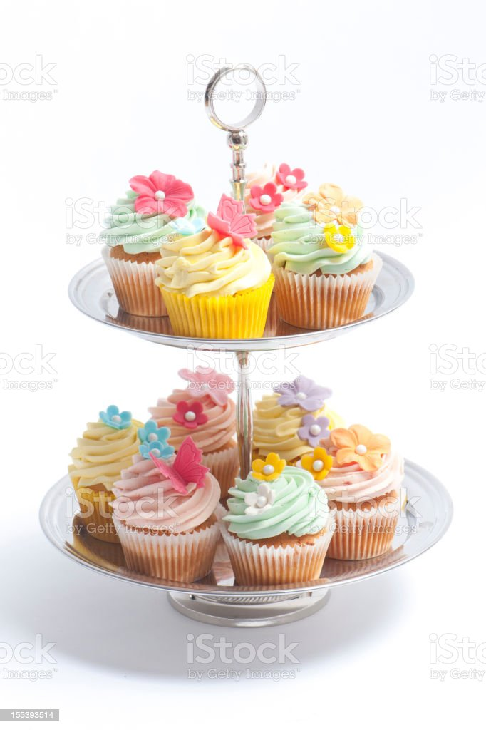 Cupcake on a tiered cake stand stock photo