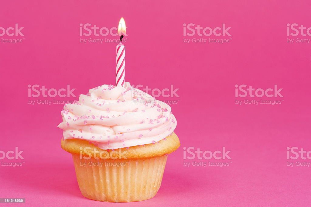 Cupcake on Pink background stock photo