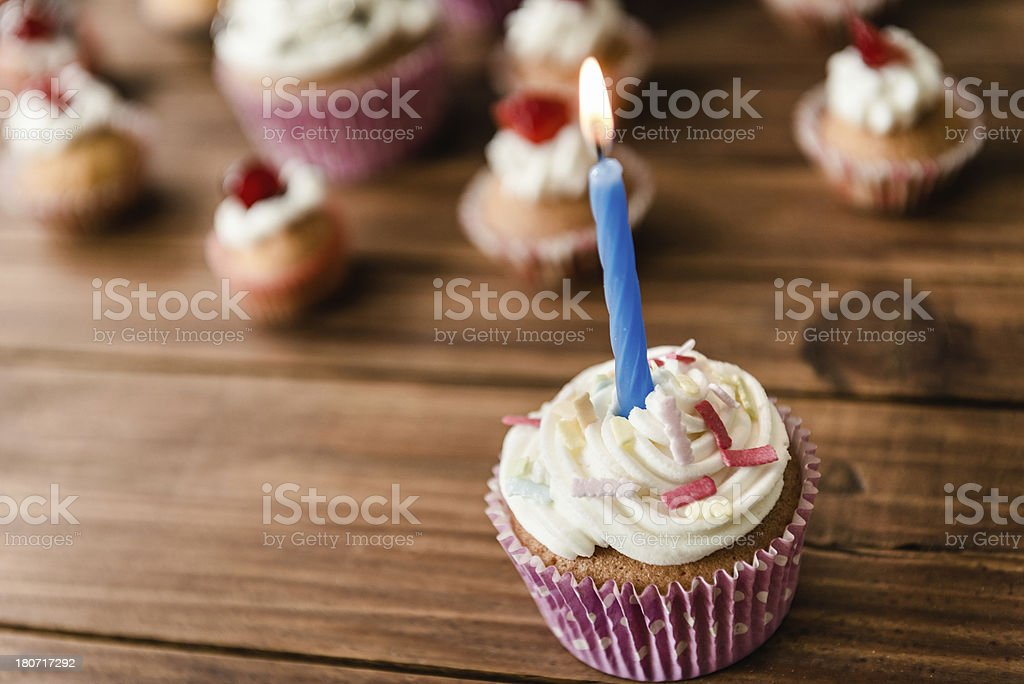 Cupcake on wood for the birthday royalty-free stock photo