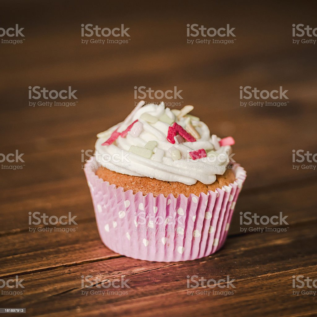 Cupcake on wood royalty-free stock photo