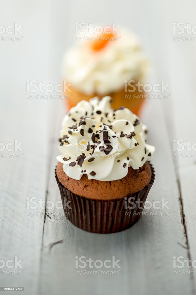 Cupcake on wood stock photo