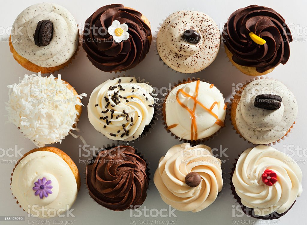 Cupcake Selection Variety with Fancy Gourmet Topping, Top Overhead View stock photo