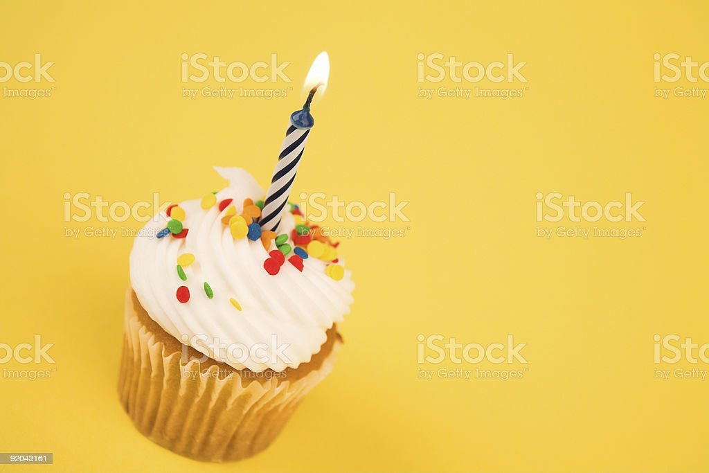 Cupcake - Single Candle royalty-free stock photo
