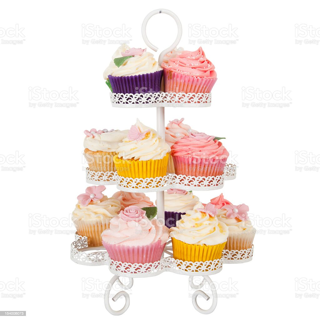 Cupcake Stand With Frosting Isolated With Clipping Path stock photo