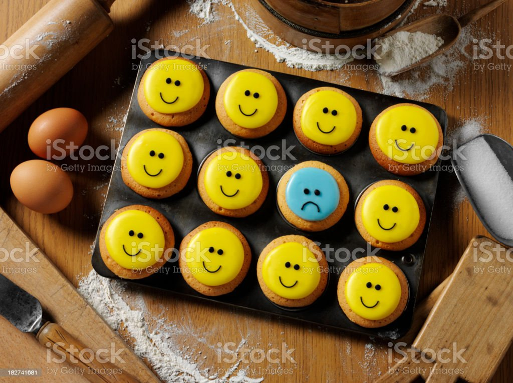 Cupcake Standing Out in a Crowd stock photo