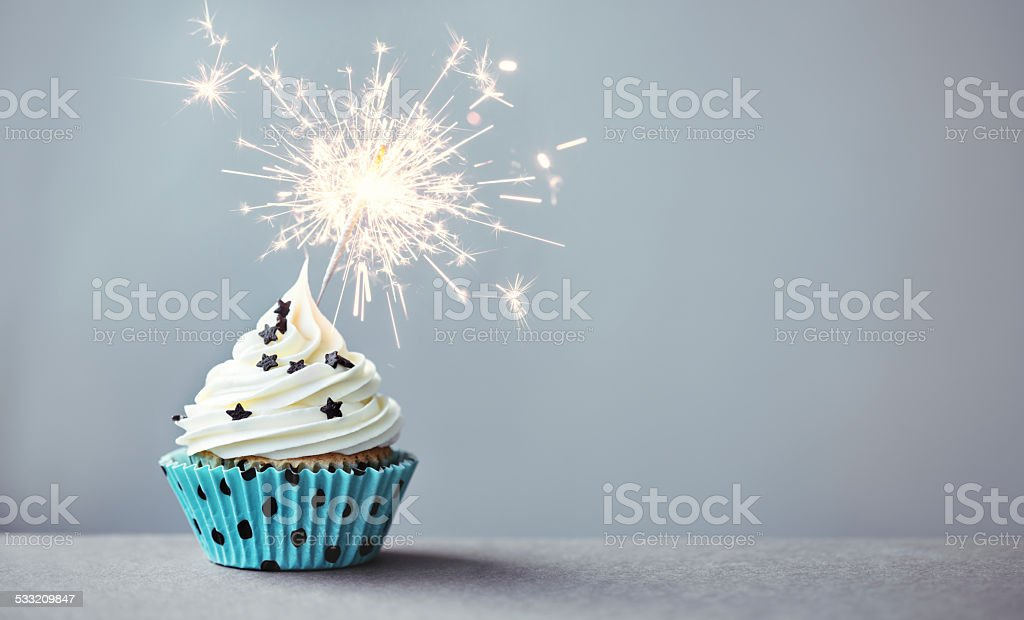 Cupcake with a sparkler stock photo