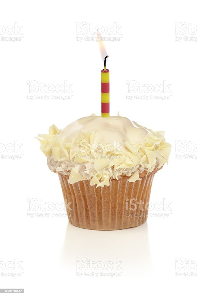 Cupcake with candle stock photo