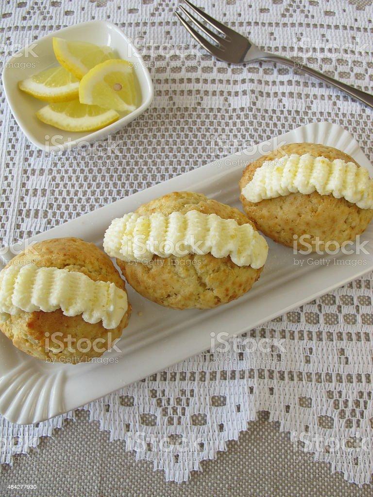 Cupcake with lemon frosting ruffle stock photo