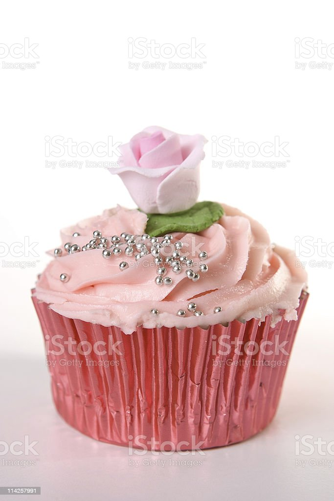 Cupcake with pink Icing stock photo