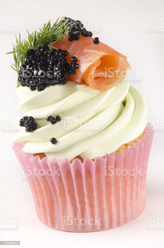 cupcake with smoked salmon royalty-free stock photo