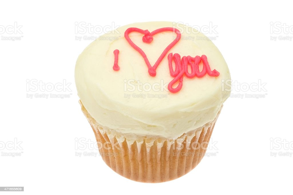 Cupcake with the words ' I love you' royalty-free stock photo