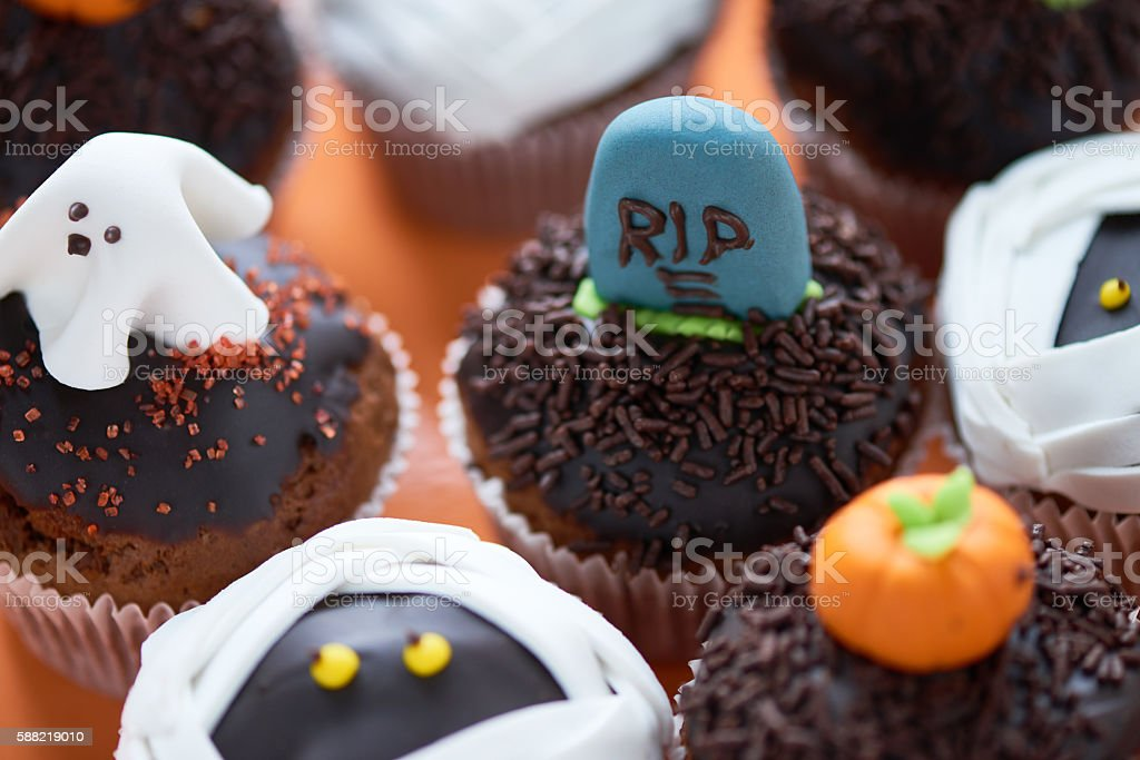 Cupcake with tombstone stock photo