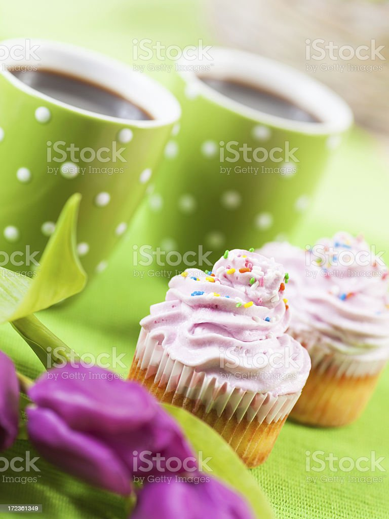 Cupcakes and coffee royalty-free stock photo