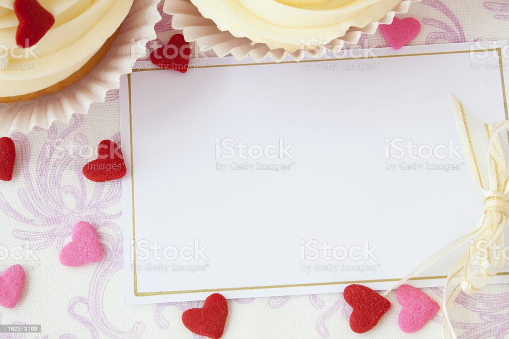 Cupcakes and note card royalty-free stock photo