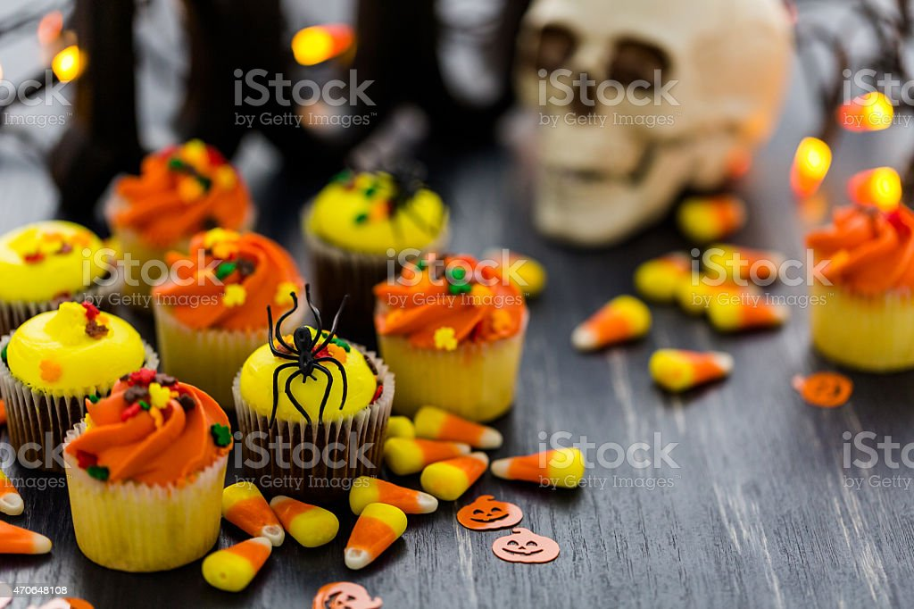 Cupcakes decorated with a Halloween theme stock photo