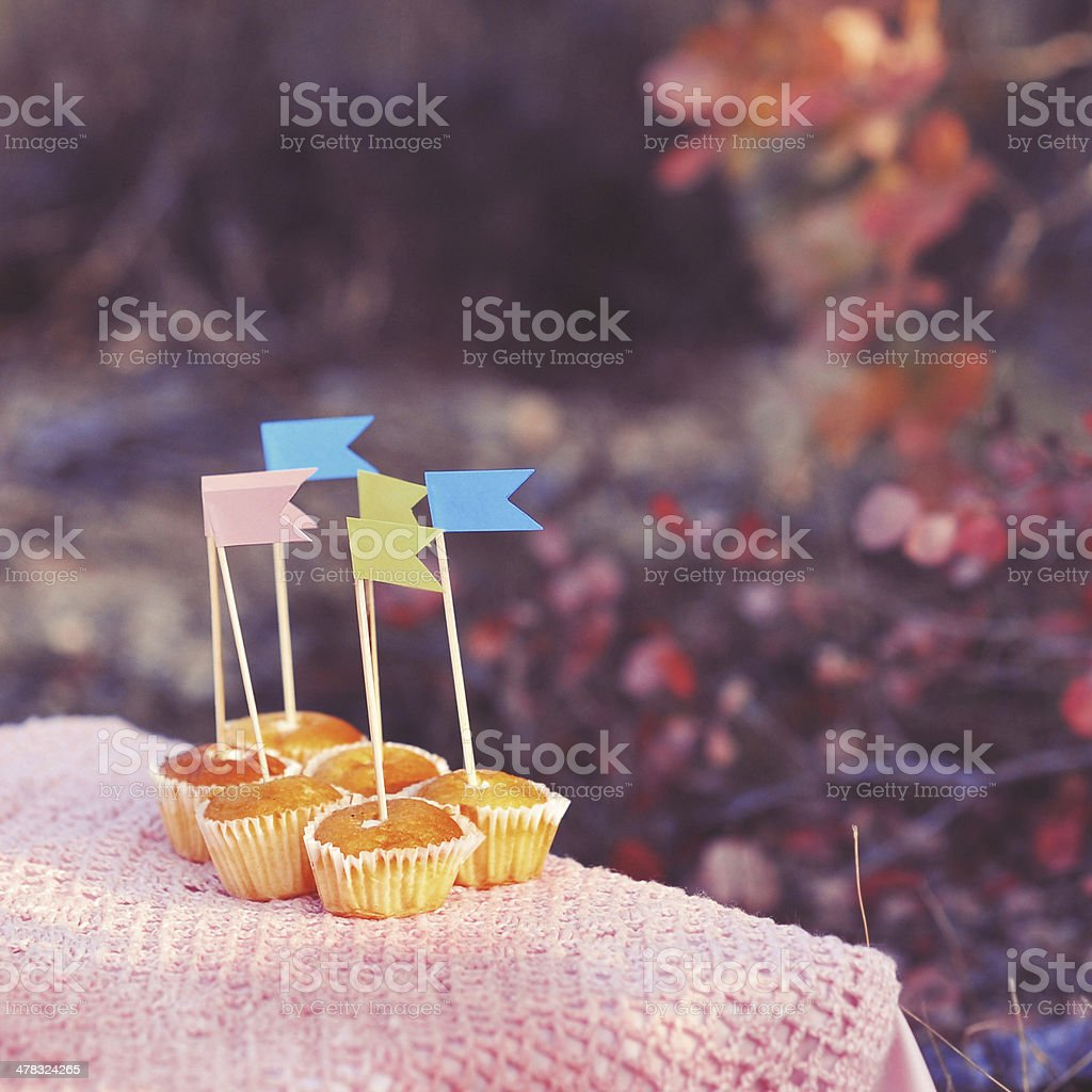 Cupcakes decorated with paper flags outdoors royalty-free stock photo