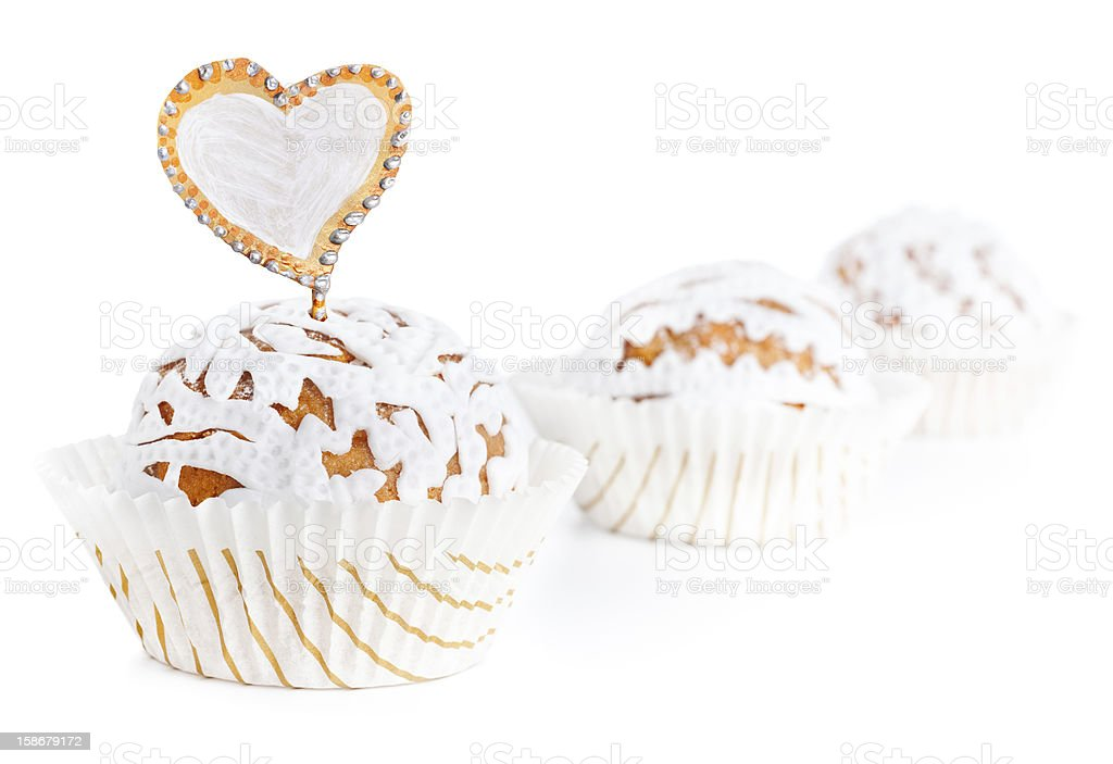 Cupcakes decorated with white foundant royalty-free stock photo