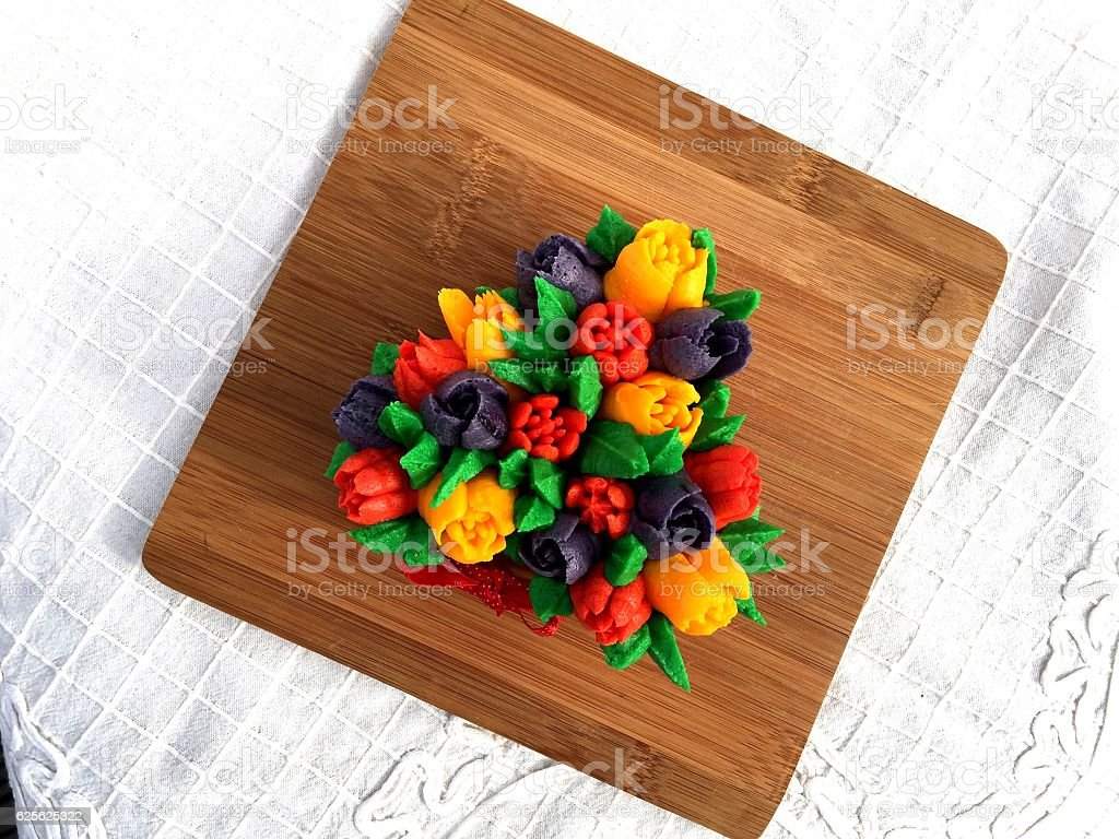 Cupcakes Flower Tulips Bouquet stock photo