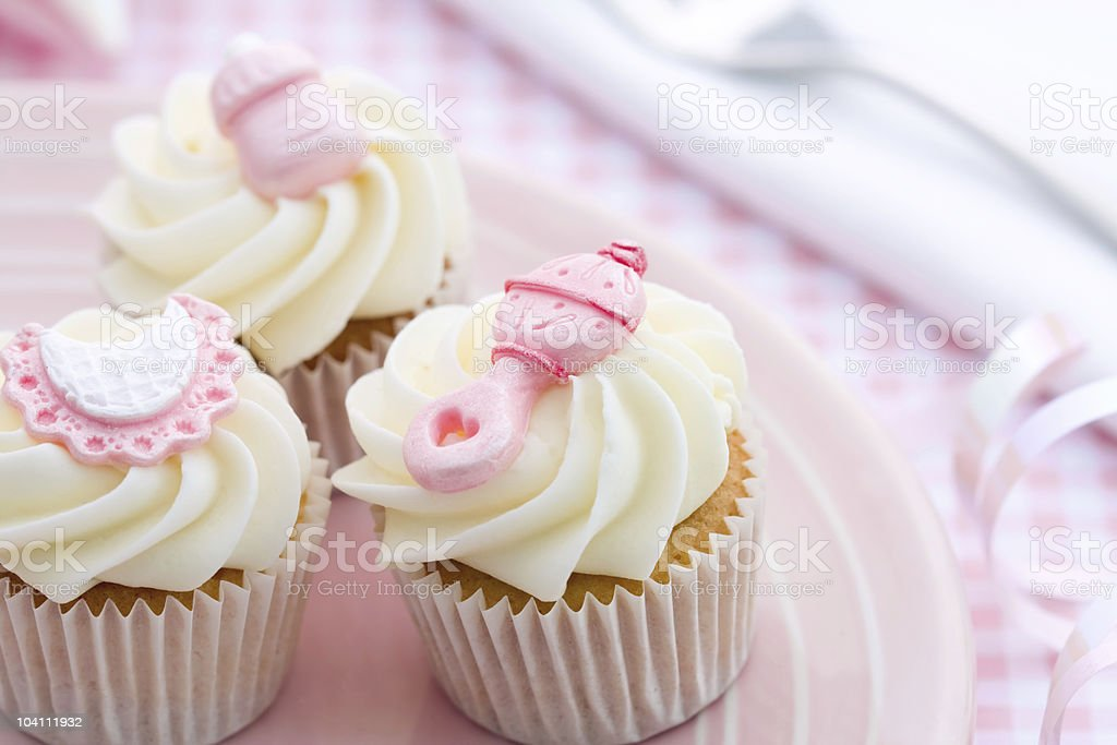 Cupcakes for a baby shower stock photo