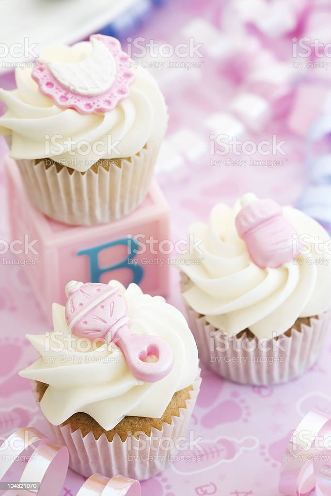 Cupcakes for a baby shower royalty-free stock photo