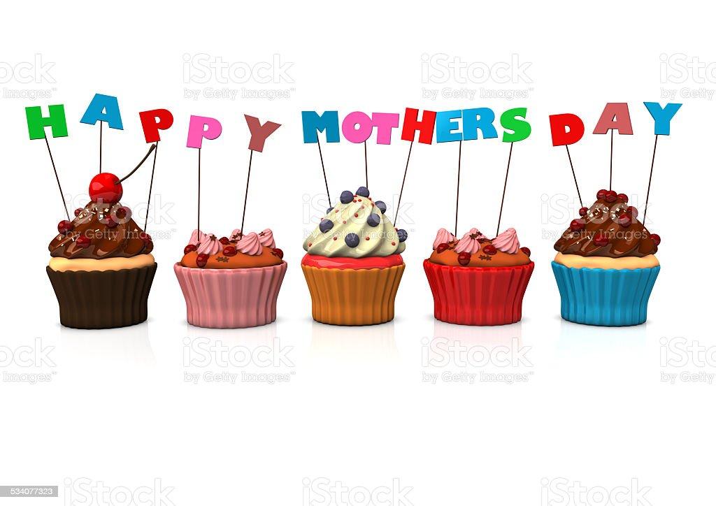 Cupcakes Happy Mothersday stock photo