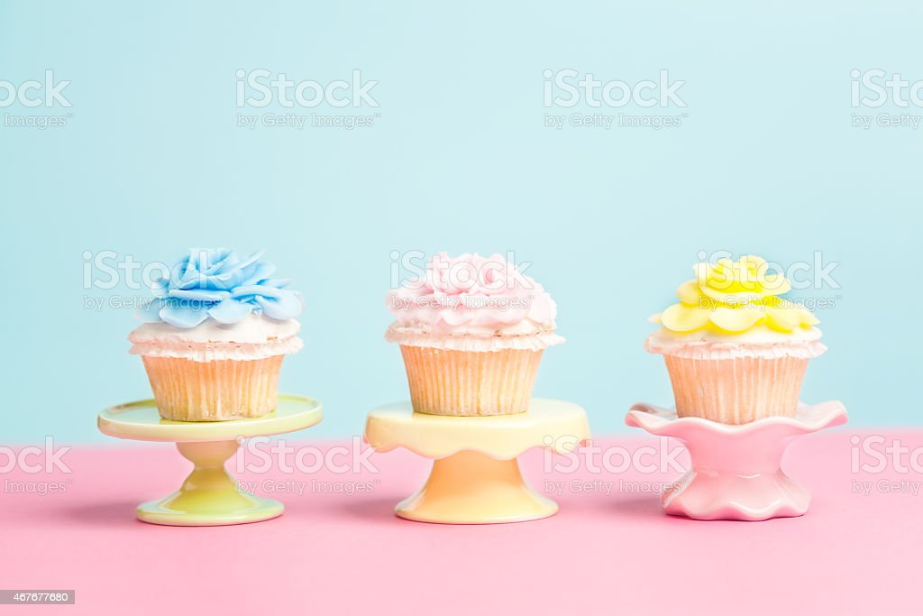 Cupcakes in Easter Spring Color Palette with Copy Space stock photo