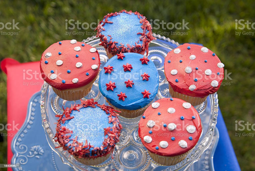 Cupcakes, Labor & Memorial Day Food, Fourth of July Picnic Cake royalty-free stock photo