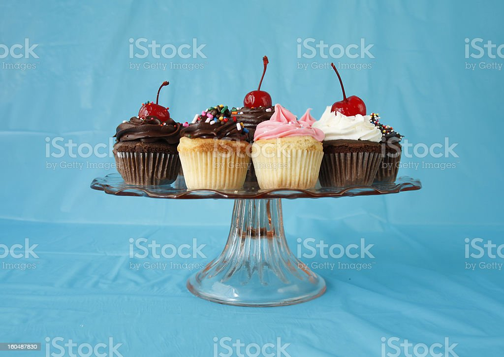 Cupcakes on a pedestal royalty-free stock photo