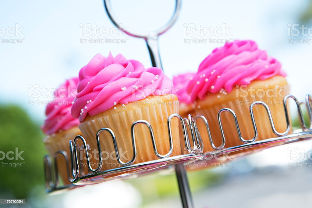 Cupcakes on a Rack Outdoors stock photo