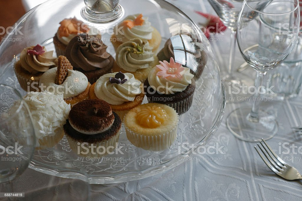 Cupcakes on the table stock photo