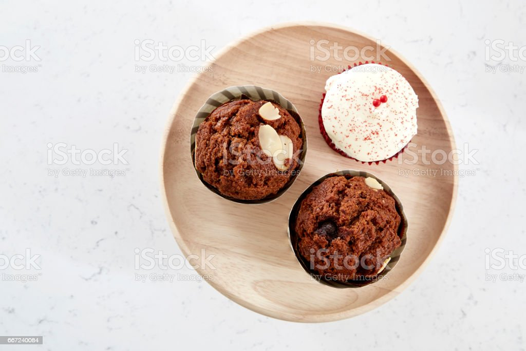 cupcakes top view stock photo